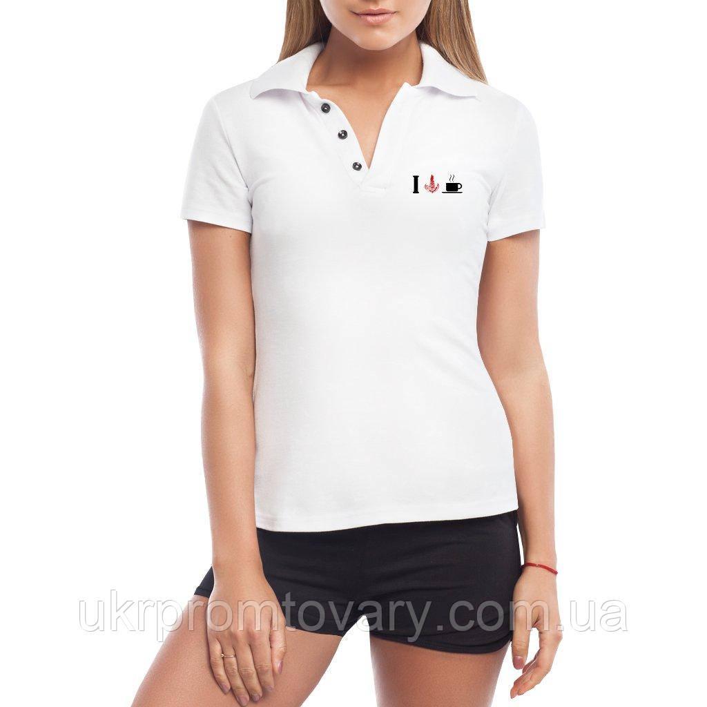 Женская футболка Поло - Cafe Sign, отличный подарок купить со скидкой, недорого
