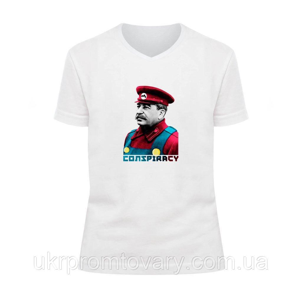 Футболка детская V-вырезом - Stalin Mario, отличный подарок купить со скидкой, недорого