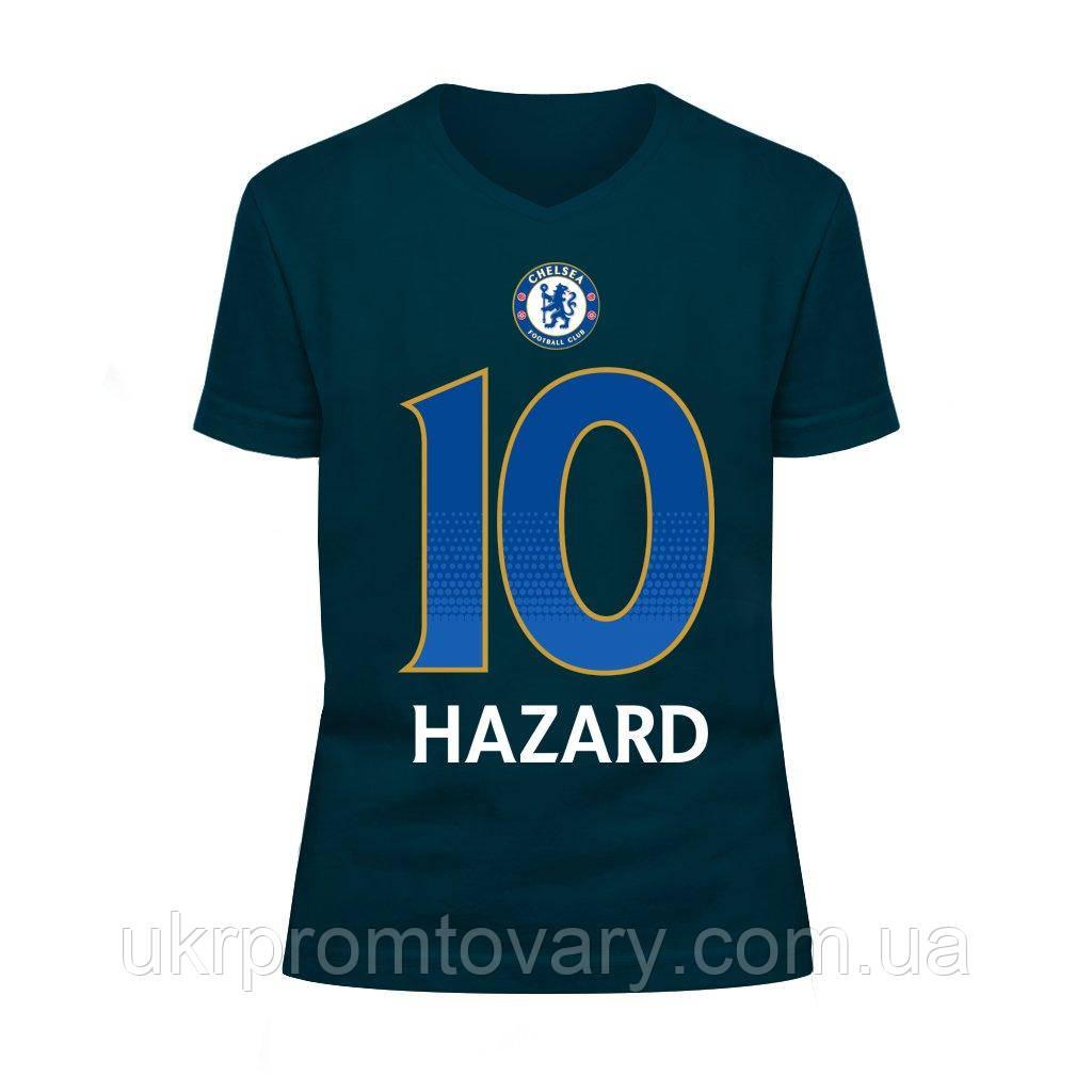 Футболка детская V-вырезом - Chelsea Hazard, отличный подарок купить со скидкой, недорого