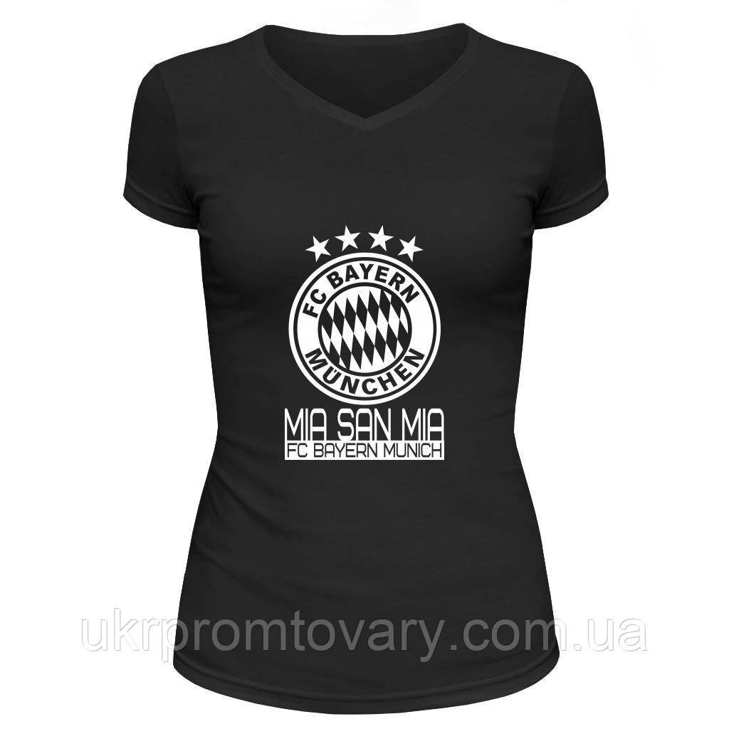 Футболка женская V-вырезом - Mia san mia munich, отличный подарок купить со скидкой, недорого