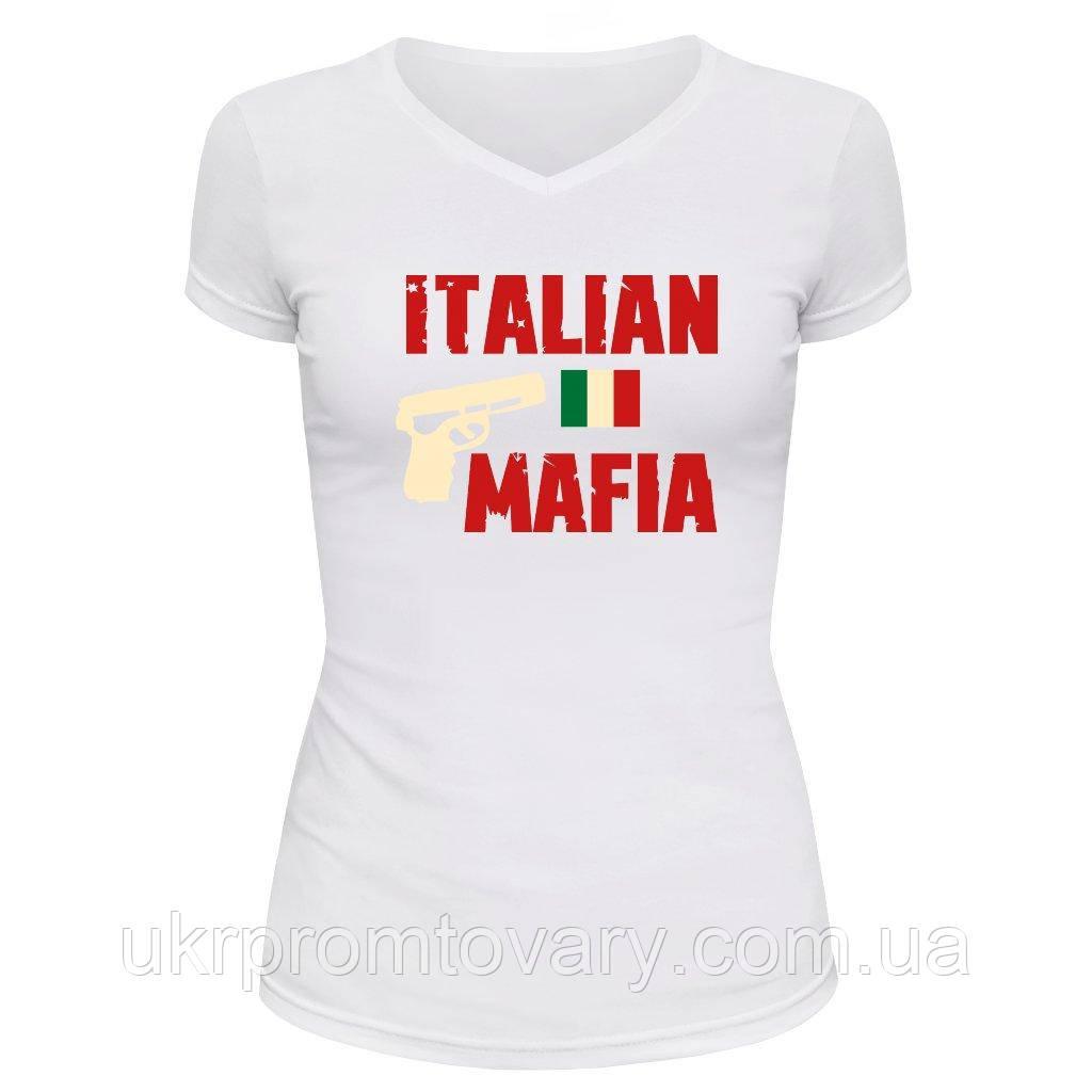 Футболка женская V-вырезом - Итальянская мафия, отличный подарок купить со скидкой, недорого