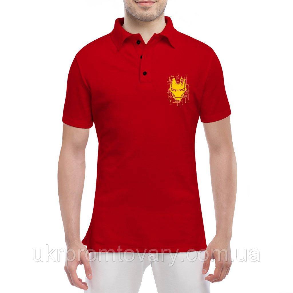 Мужская футболка Поло - iron man схема, отличный подарок купить со скидкой, недорого