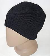 Однослойная мужская шапка с флисовой подкладкой на всю глубину. Черная качественная шапка.