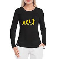 Лонгслив женский - Эволюция гольфа, отличный подарок купить со скидкой, недорого
