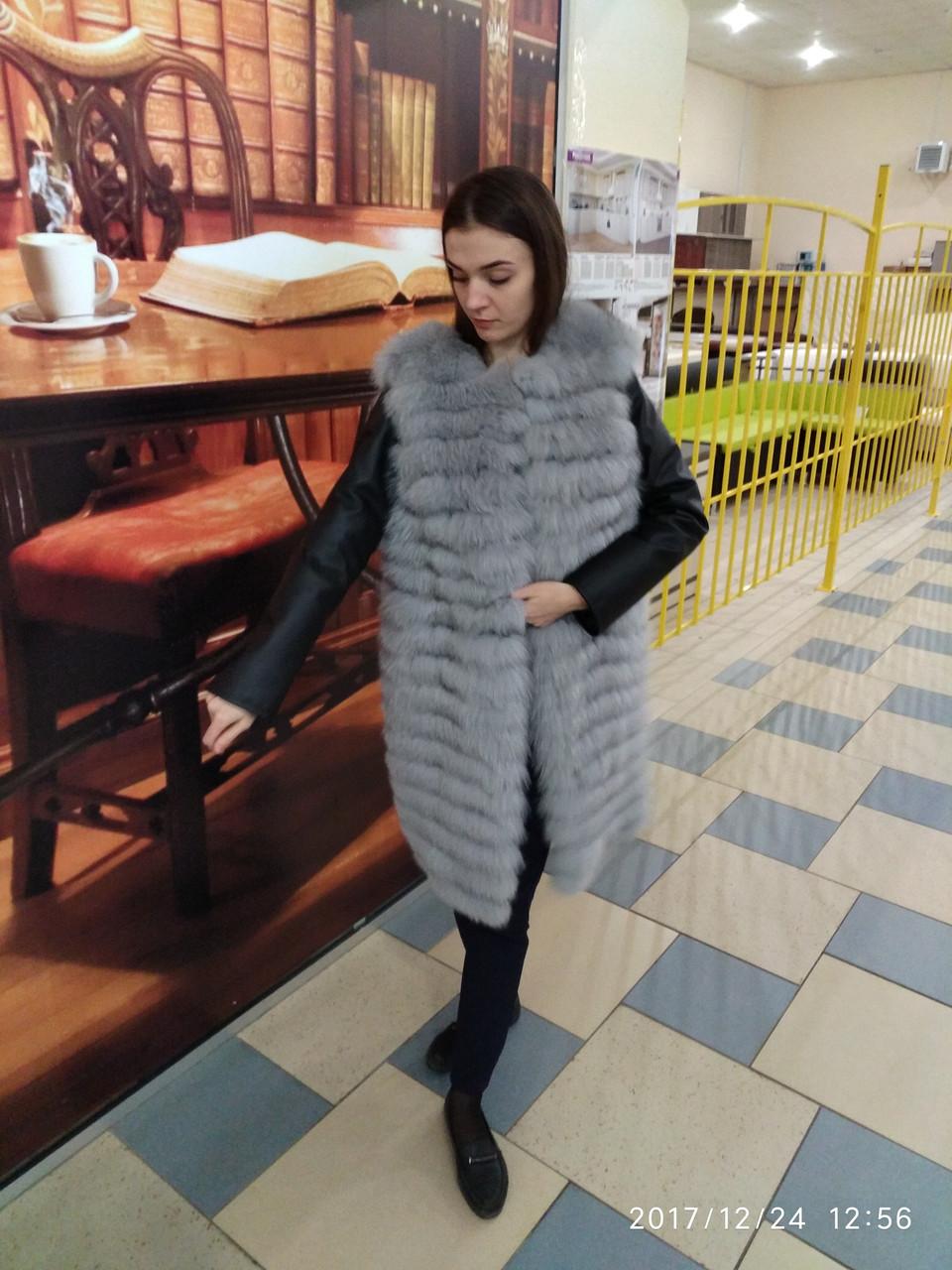 Женская куртка из натурального меха финского песца в росшив (314)