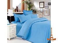 Постельное белье Love you Сатин с кружевом полуторное 1,5 цвет Голубой