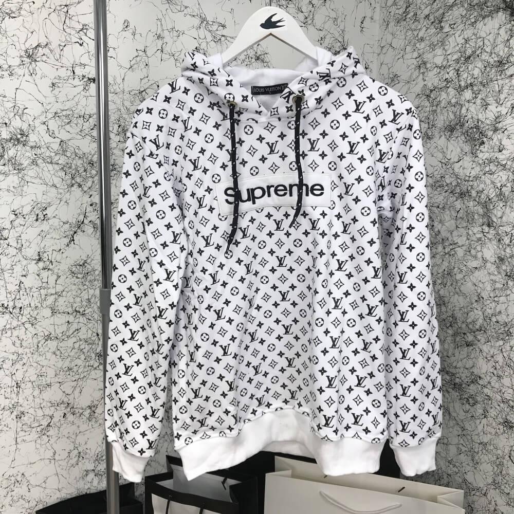 Мужской худи Louis Vuitton x Supreme Monogram White Black, Копия - TopCross  в Львове f025ac9c4db