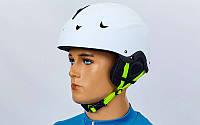 Шлем горнолыжный с механизмом регулировки  (ABS, p-p S, M, L, белый матовый)