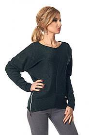 Женская свитер из трикотажа 407 / цвет бутылочный / размер 42-44, 46-48