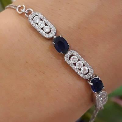 Серебряный браслет с синими камнями