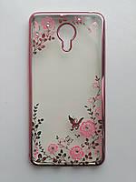 Силиконовый чехол для Meizu M3 Note с розовой рамкой со стразами, фото 1