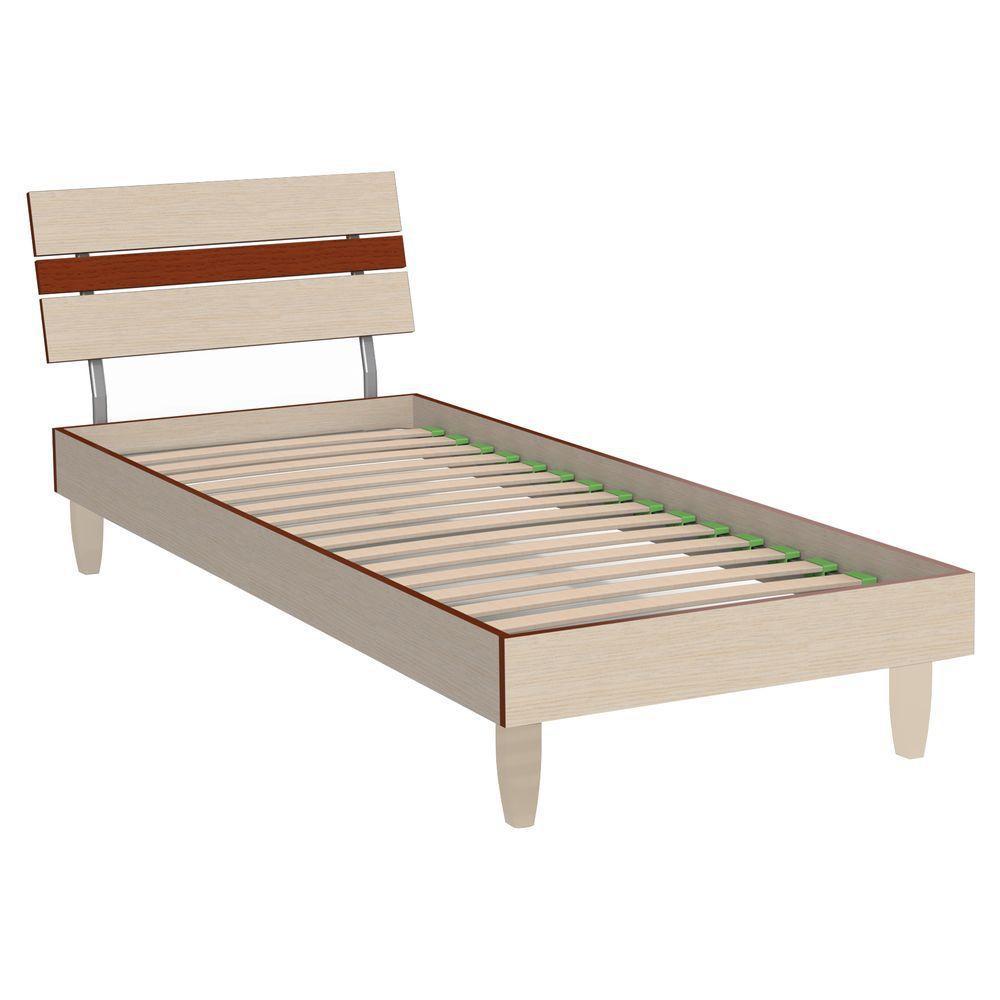 Кровать Прагматик (ДСП) 0,8х2 микс дуб молочный+яблоня, ножки буковые ТМ АМФ