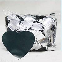Конфетти сердечки, серебро, 100 грамм