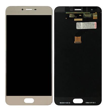Дисплей (экран) для Meizu X с сенсором (тачскрином) золотистый Оригинал, фото 2