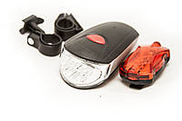 Велосипедный фонарь набор (передний + задний) KK-760 на батарейках
