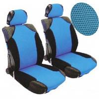 Майки на сиденья передние черные / синие 2подгол.(4шт) Vitol