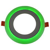 Светодиодный светильник встраиваемый с подсветкой 12 + 4 Вт холодный белый + зеленый  6500 К 1440 Lm