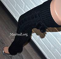Черные высокие женские гетры, вязанные, шерсть, с бубонами