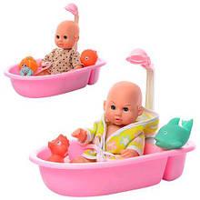 Пупс 9968-3-4 27см, ванночка, брызгалка 2шт, 2вида, в кульке, 32-16-19см( Ч )