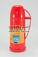 Термос 500мл пластиковый со стеклянной колбой (цвет - красный) Stenson DB118F