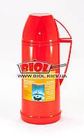 Термос 1л пластиковый со стеклянной колбой (цвет - красный) Stenson DB208F