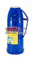 Термос 1л пластиковый со стеклянной колбой (цвет - синий) Stenson DB208F