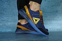 Мужские кроссовки Reebok (синий\рыжий), ТОП-реплика