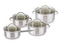 Набор посуды Fissman GABRIELA 8пр. со стеклянными крышками (нерж. сталь)