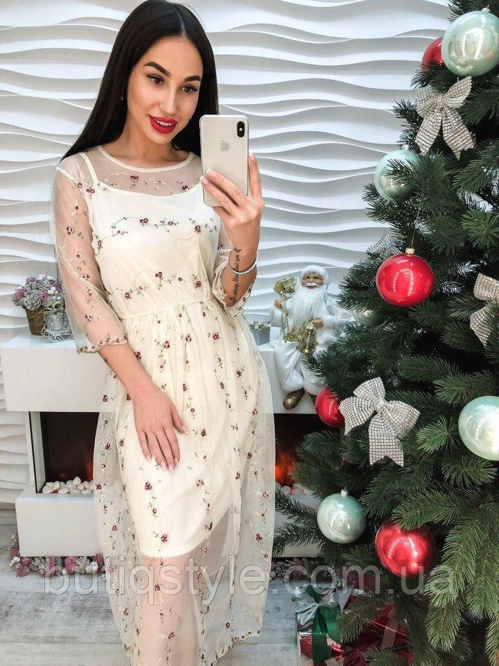 196af5f483a1764 Красивое белое платье органза с вышивкой -