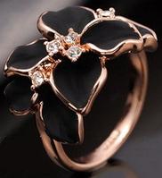 """Кольцо """"Черная орхидея в золоте"""""""