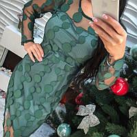Модное красивое платье органза с вышивкой только зеленое