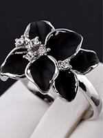 """Кольцо """"Черная орхидея в серебре"""""""