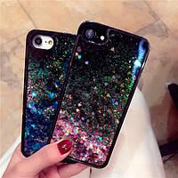 Чехол на Iphone 6 6s черный с жидким песком и сердечками