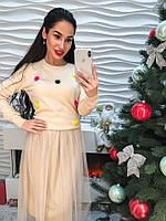 Стильное женское комбинорованное платье свитер с мехом и юбка органза беж
