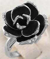 """Кольцо """"Черная роза в серебре"""""""