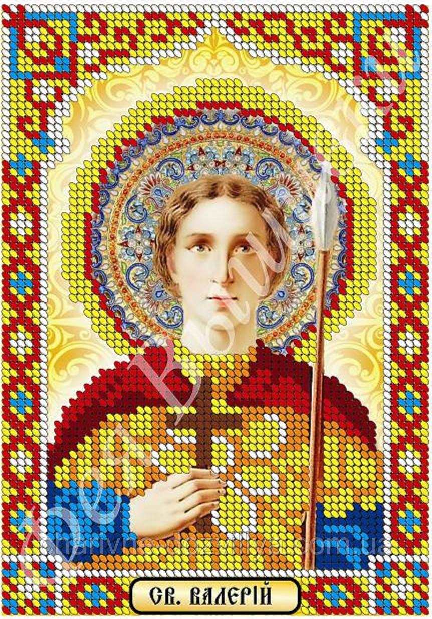 """Схема для вышивки бисером икона """"Святой Валерий"""" (частичная зашивка)"""