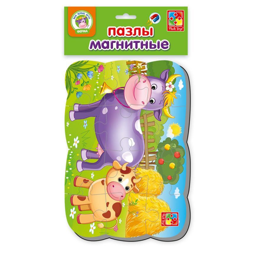 Пазлы на магните Vladi Toys А5 Корова и телёнок 12 элементов (VT3205-55)