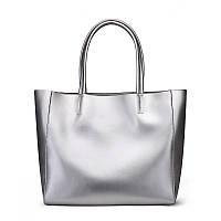 Женская кожанная сумка большая цвет серебро