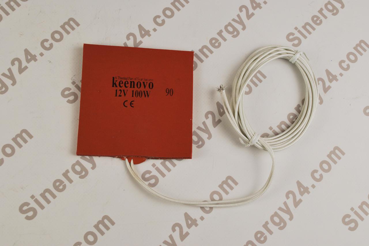 Гибкая греющая пластина 100Вт, 12В, (100х100x7мм), терморегулятор 90 градусов