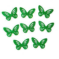 Зеленые Бабочки 3D с глиттером (блестками) аппликации из фоамирана Латекса заготовки 4.5 см 10 шт/уп