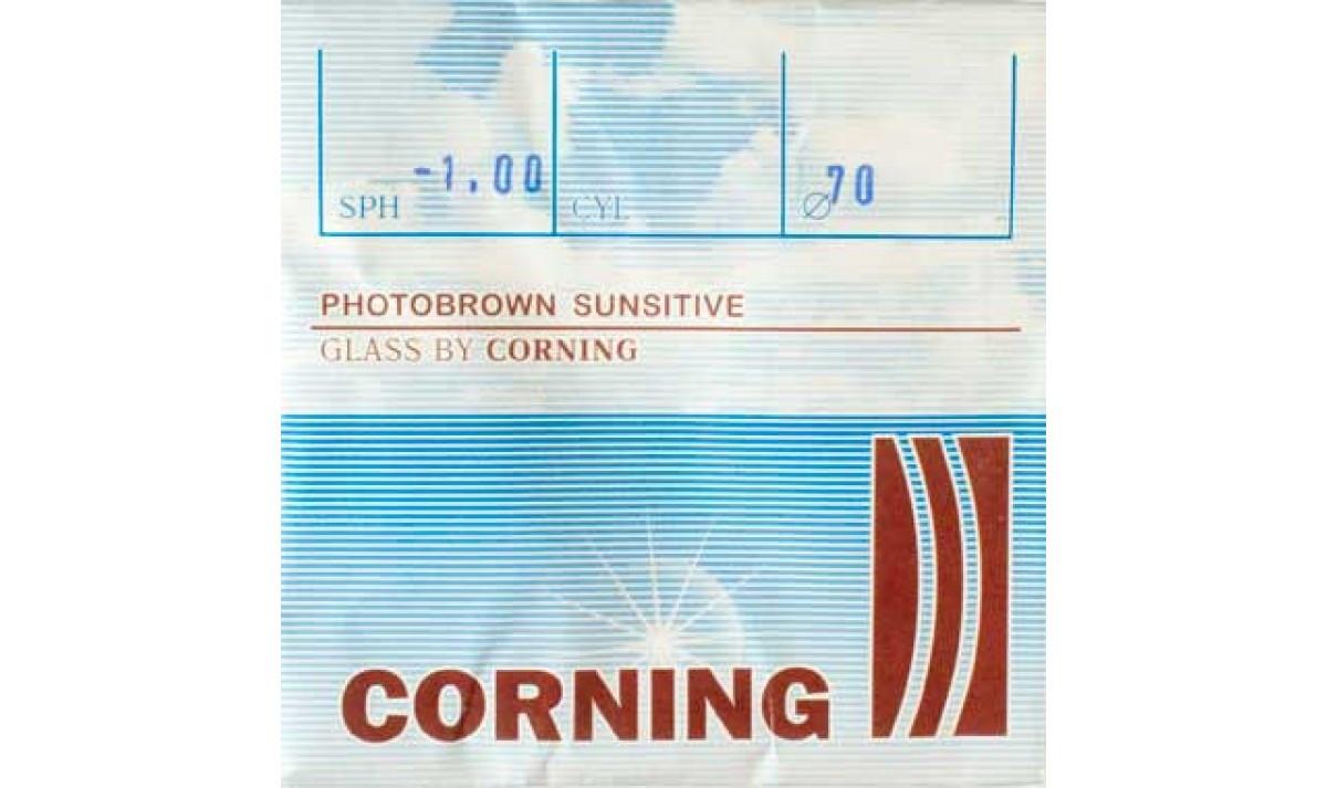 Линза минеральная, фотохромная CORNING, Франция (корич.)