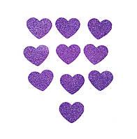 Сиреневые сердечки сердца с глиттером (блестками) аппликации из фоамирана Латекса заготовки 3.8 см 10 шт/уп