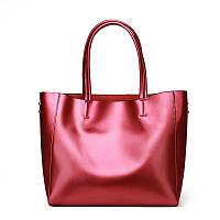 Женская кожаная сумка деловая вместительная цвет бордовая