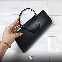 Стильная женская черная сумка клатч экокожа