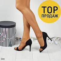 Женские босоножки на каблуке 10 см, черные / босоножки женские, замшевые, открытие, модные