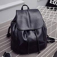Женский рюкзак черный на шнурке экокожа дешево