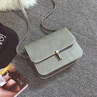 Женская мини сумочка на защелке серая из экокожи опт, фото 1