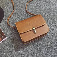Жіноча маленька сумочка на засувці руда з екошкіри опт, фото 1