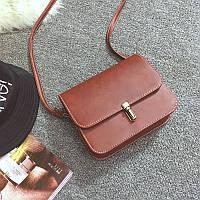 Жіноча маленька сумочка на засувці коричнева з екошкіри, фото 1