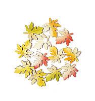 Листья клена листочки кленовые осенние деревянные липучки декоративные из дерева 4x3.5 см 12 шт/уп